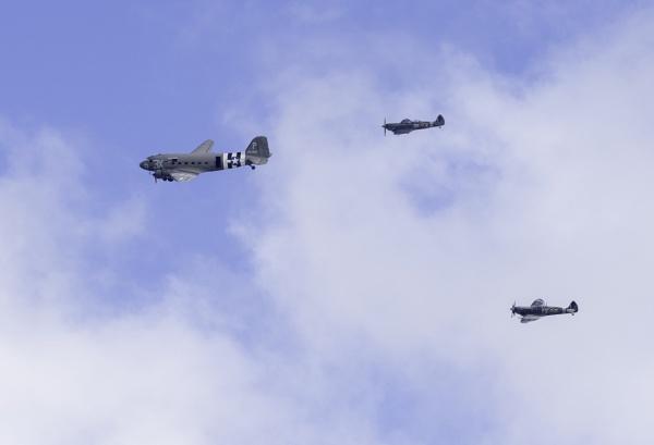 Dakota with Spitfire Escort by doverpic