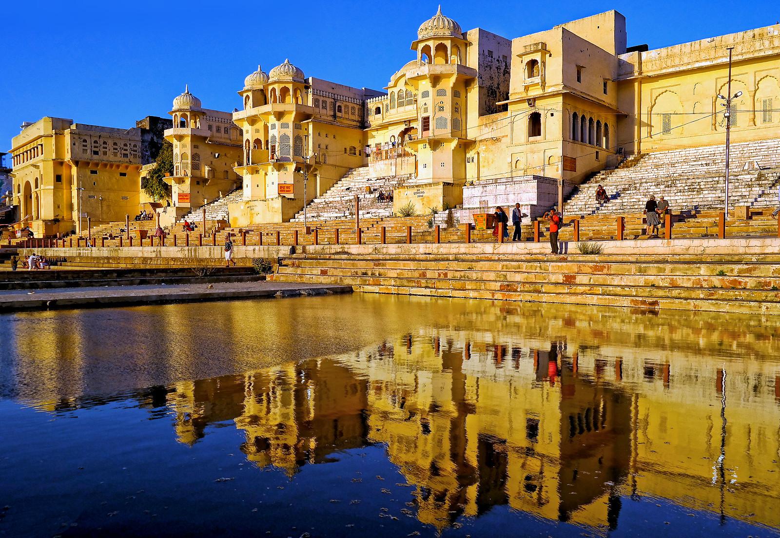 The prayer ghats of Pushkar Lake Rajasthan