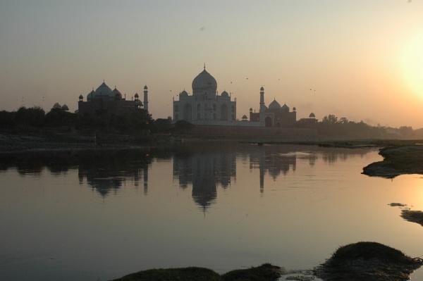 Taj Mahal by Yamuna River by peterthowe
