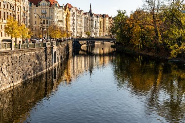 Street on the riverside Prague by Johnpics