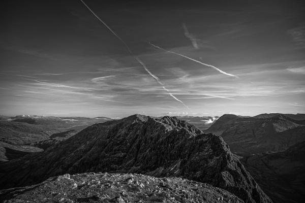 The Aonach Eagach ridge B&W by jenkins75