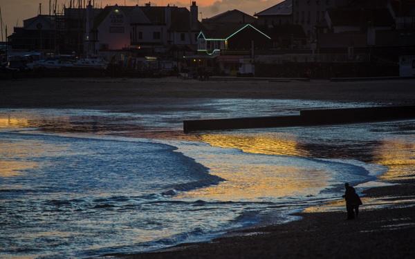 Sunset Reflections - Lyme Regis Shoreline by starckimages