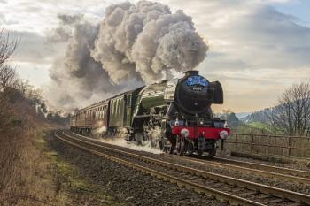 Flying Scotsman steaming through Settle Yorkshire yesterday morn