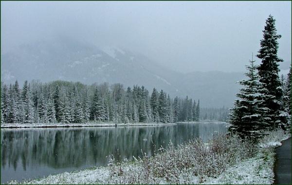 Snow at Banff by JuBarney
