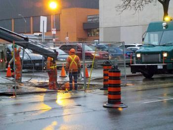 CONSTRUCTION WORK ON JAMES ST S in HAMILTON, ONTARIO