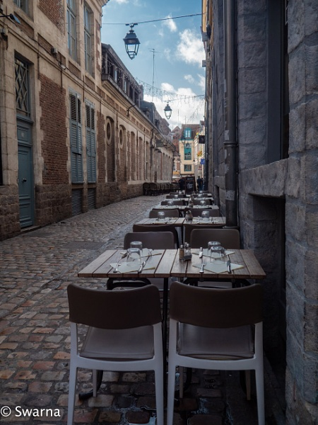 Restaurant at Old Town of Lille, France by Swarnadip
