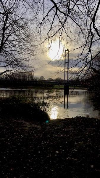 Pontcanna footbridge spanning the River Taff, Cardiff by Richardjwills