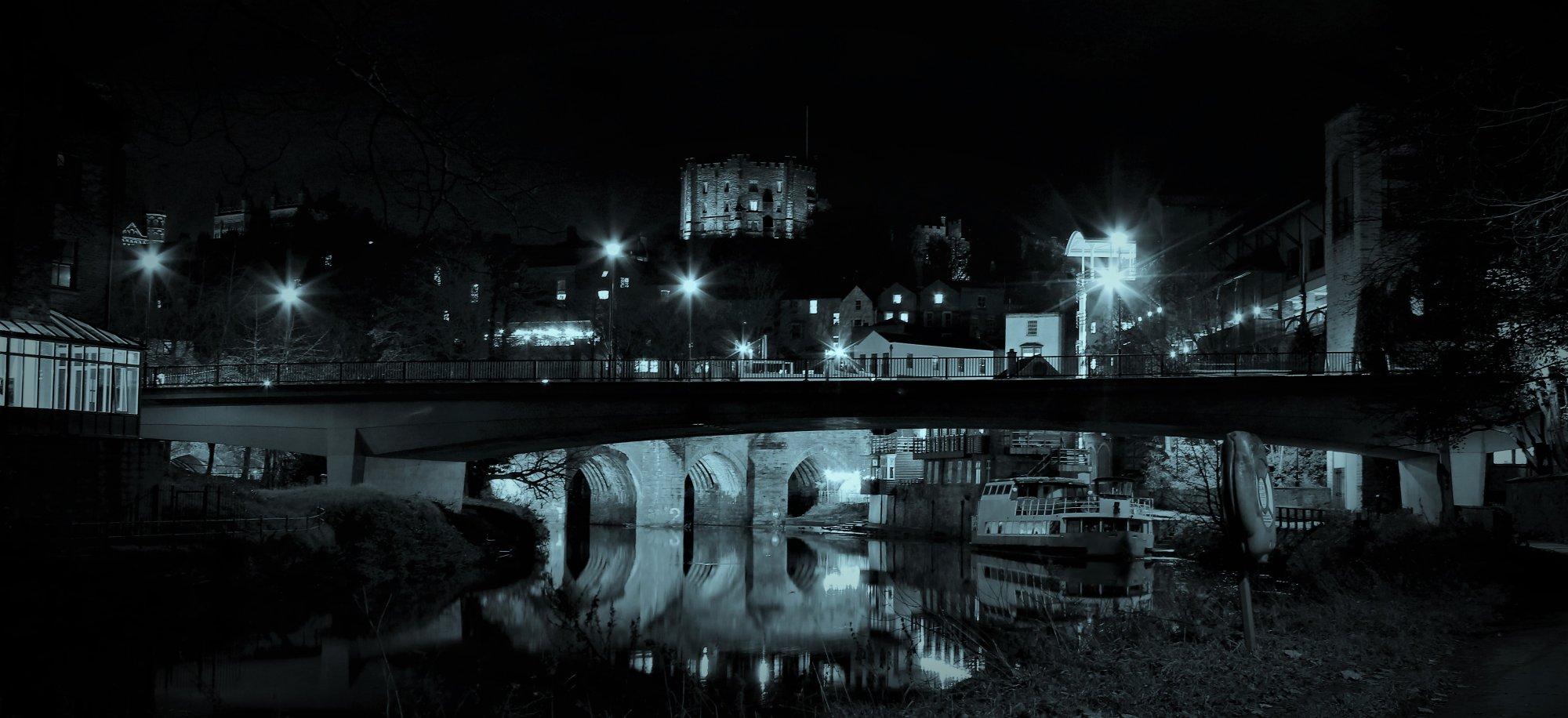 Durham at Night BW
