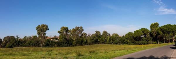 House on grass field with blue sky by rninov