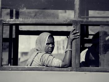 Woman on bus, Rajasthan ..