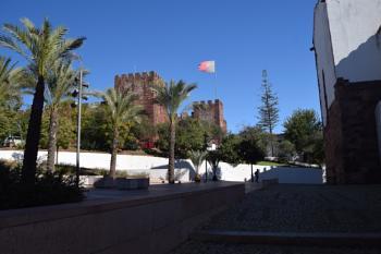 Shadows, flag and castle