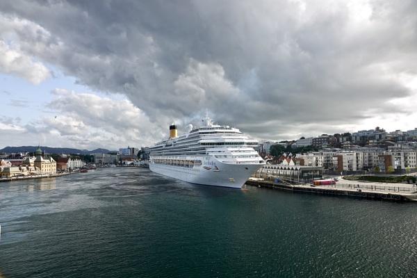 Cruise Ship Docked In Stavanger. by Debmercury