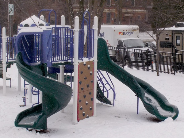 SLIDES WITH SNOW AT THE DURAND PARK ON HERKIMER STREET IN HAMILTON by TimothyDMorton