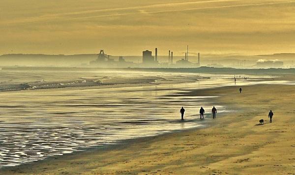 Winter walkers on Seaton Carew Beach. by georgiepoolie