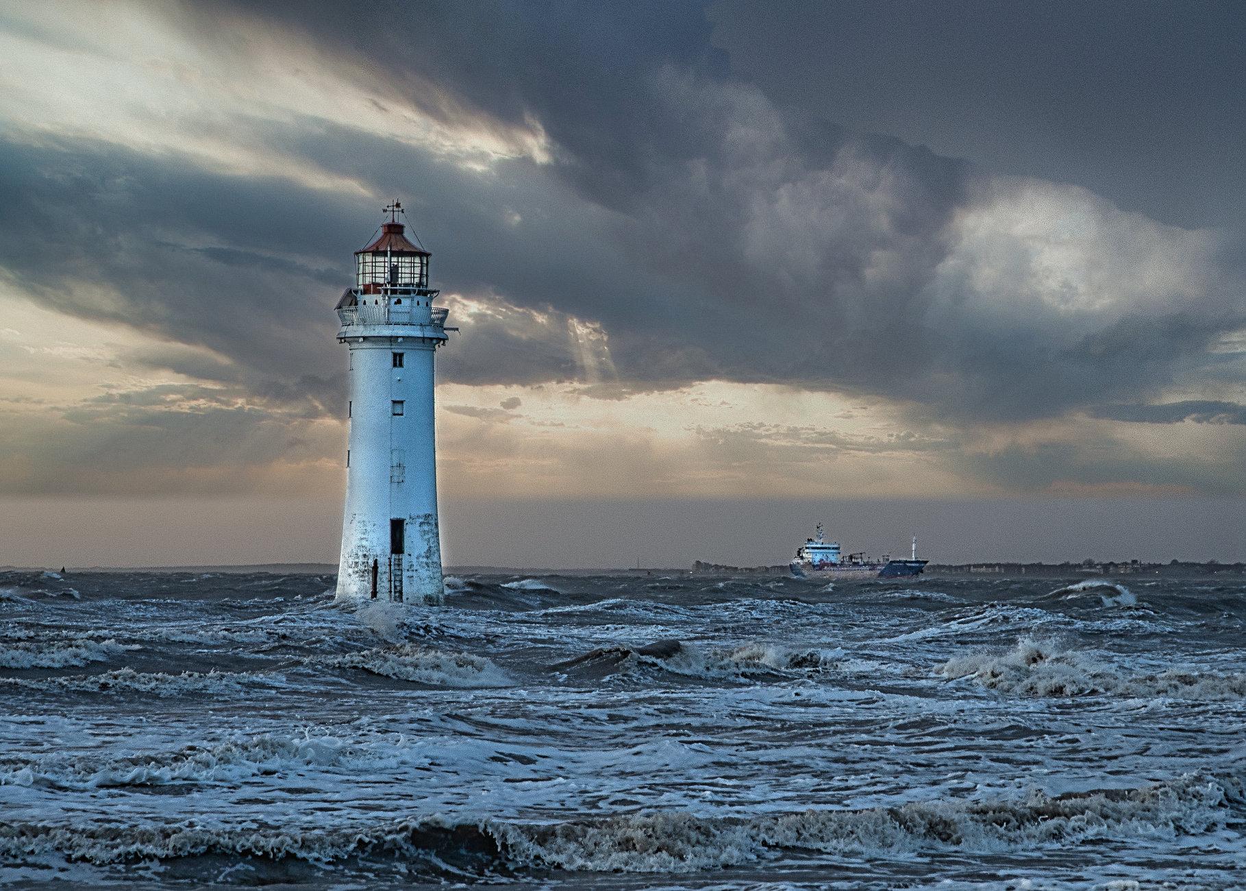 Storm Dennis off New Brighton (Wirral)