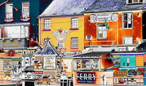 Shops Alongside Brixham Harbour by starckimages