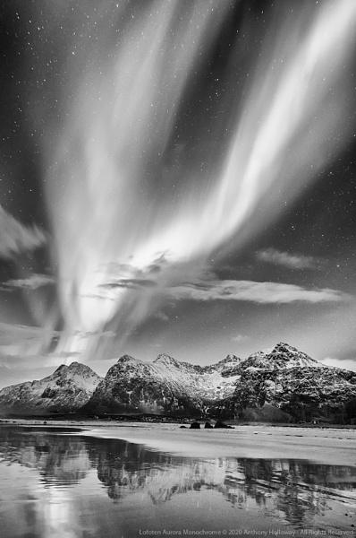 Lofoten Aurora Monochrome by AntHolloway