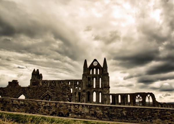 moody sky over whitby abbey by stevegilman