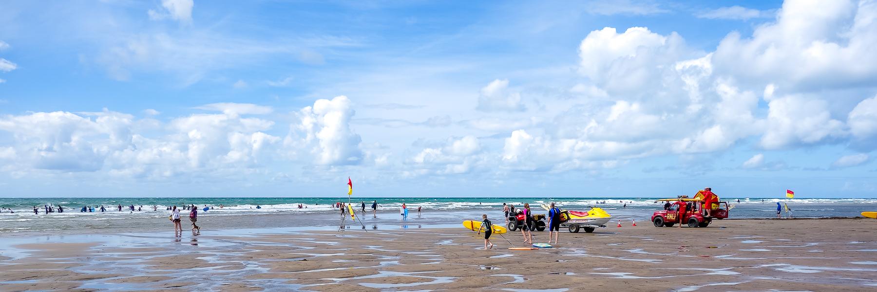 BUDE, CORNWALL/UK - AUGUST 12 : People enjoying the beach at Bud