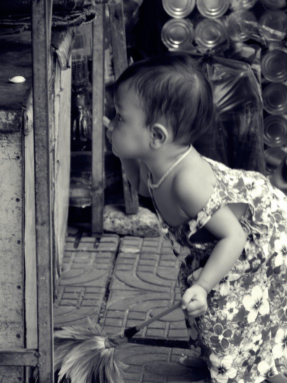 Tidy toddler, Cambodia ..