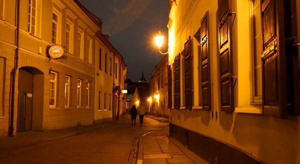 Vilnius night in golden light by SauliusR