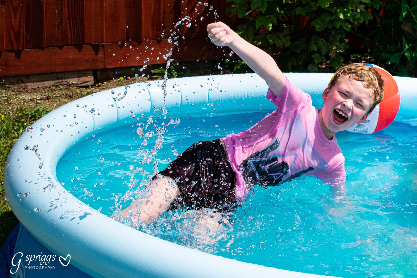 My son having fun in the pool
