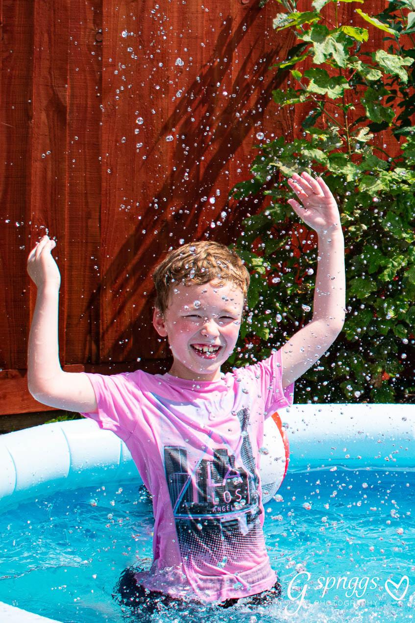 My son having a splash