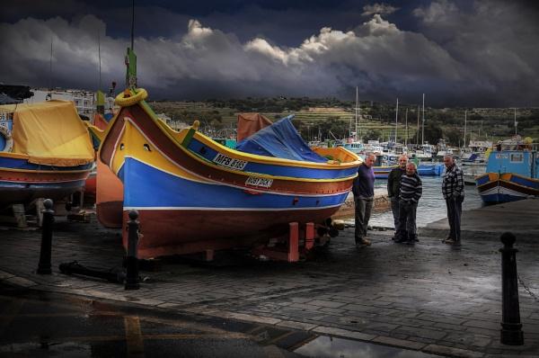 \'\'The Luzzu\'\' Marsaxlokk Malta ----Fisherman\'s Delight ---- Sunday Morning Fishermen Admiring latest Maintenance Job by Edcat55