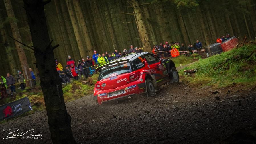 Red Citroen C3 R5 in dark welsh forest