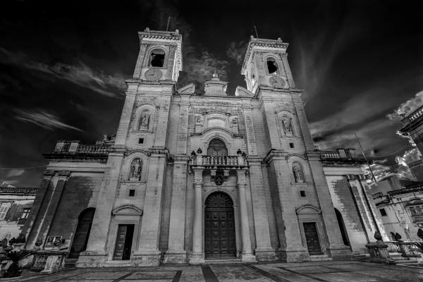 St Philip Parish Church --- Zebbug Malta ---- monochrome by Edcat55