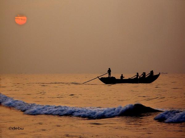Sunrise at Puri Sea Beach (India)...8a by debu