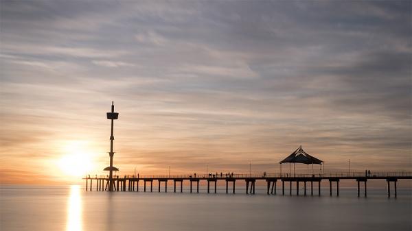 Sunset over Brighton Jetty, South Australia by jennialexander