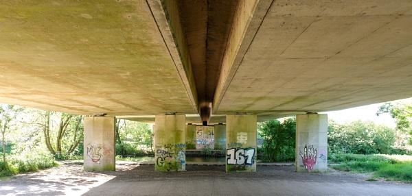 River Chelmer under A12 at Chelmsford Essex. by bluetitblue