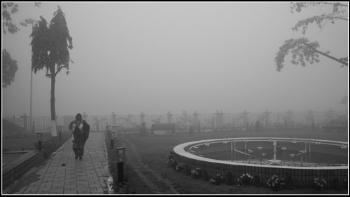 A walker in misty morning.