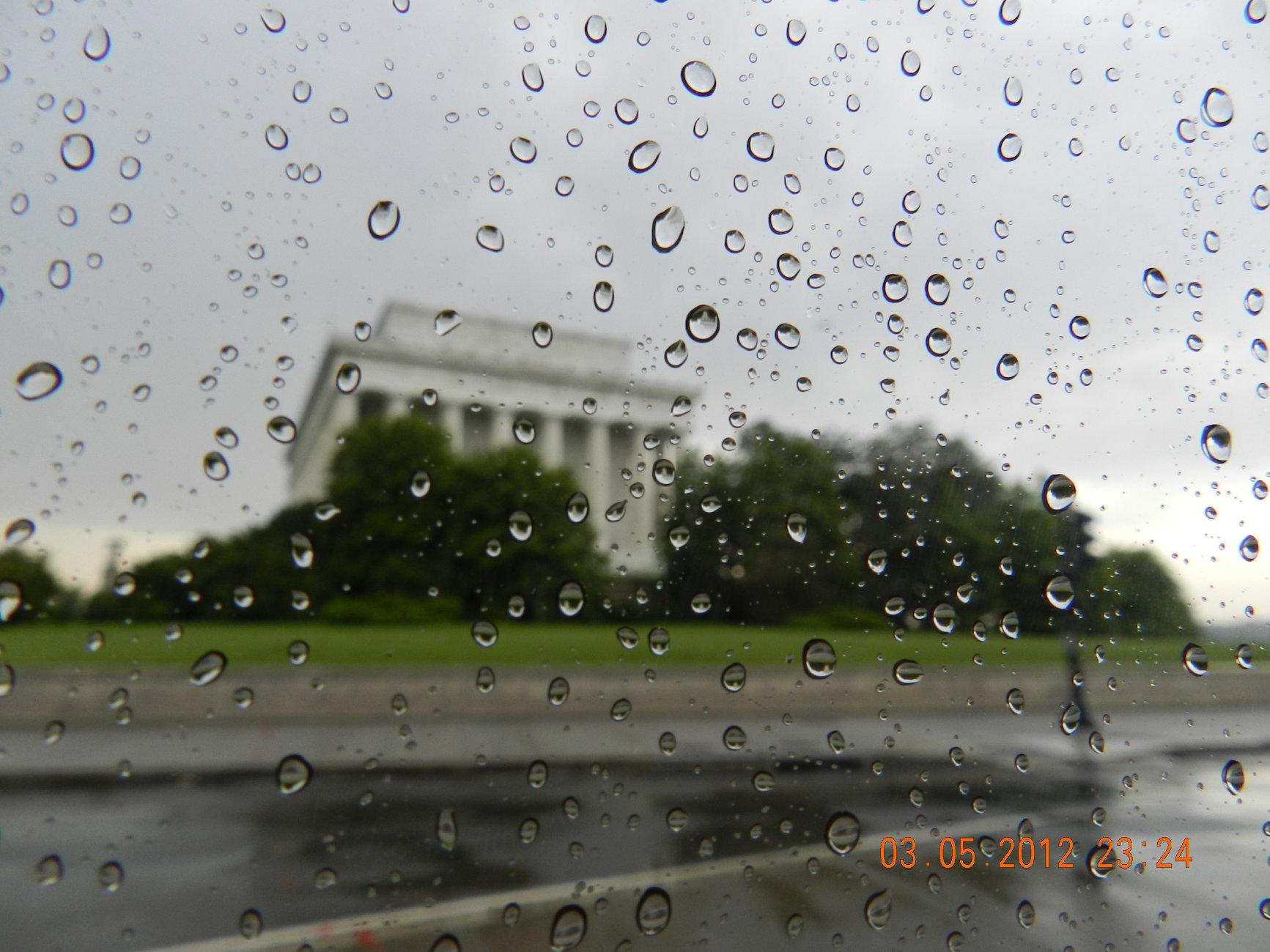 Raindrops on window.