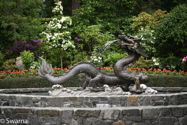 Dragon Fountain - Butchart Garden, Victoria BC by Swarnadip