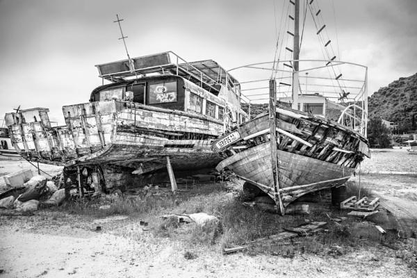 Beached Wrecks.  Corfu by sandwedge