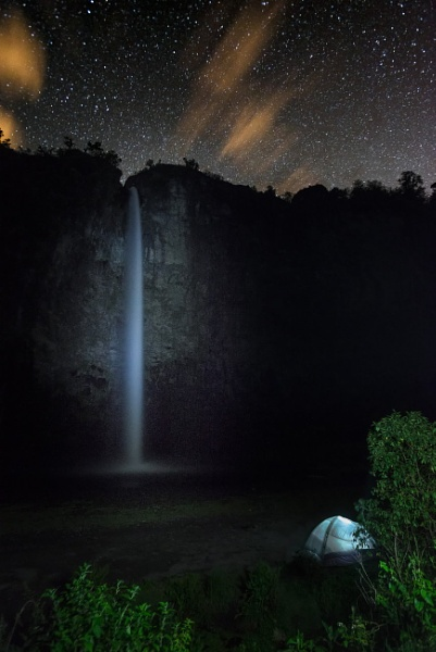 Condor Machay waterfall at night-stars and tent by macxymum