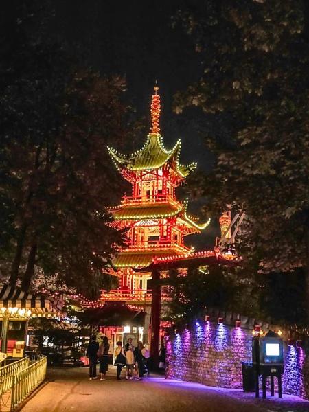 Tivoli Gardens Copenhagen night view of the Pagoda by StevenBest