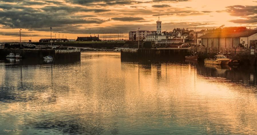 Shadows Lengthen at Arbroath Harbour.