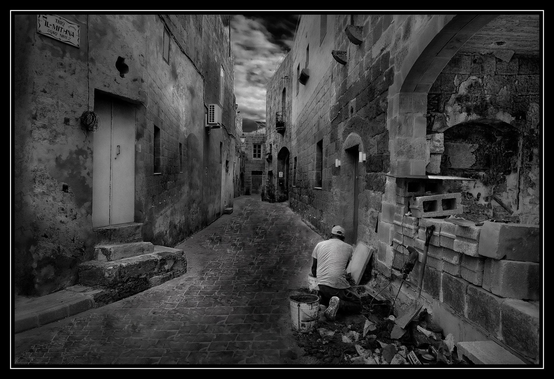 Monochrome Study -- Siggiewi Street Works Malta