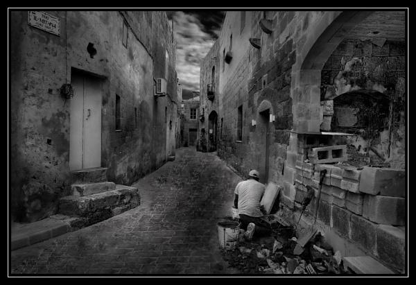 Monochrome Study -- Siggiewi Street Works Malta by Edcat55
