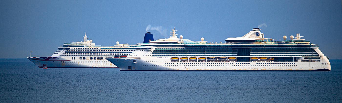 cruise ships  waitting for virus to go