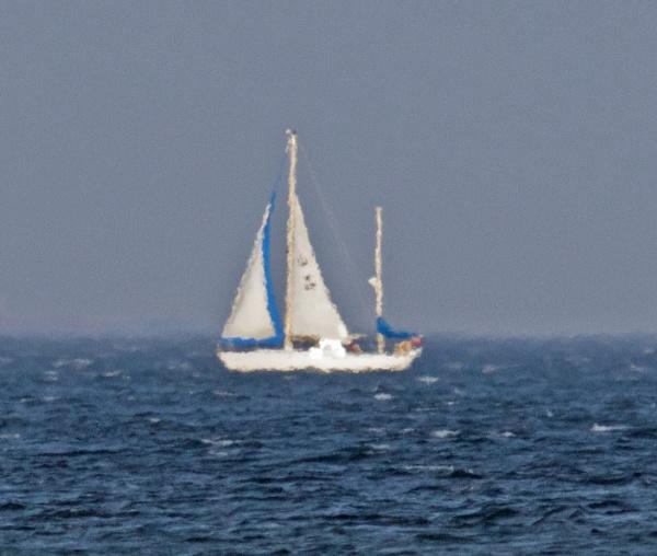 Yacht in the haze by oldgreyheron