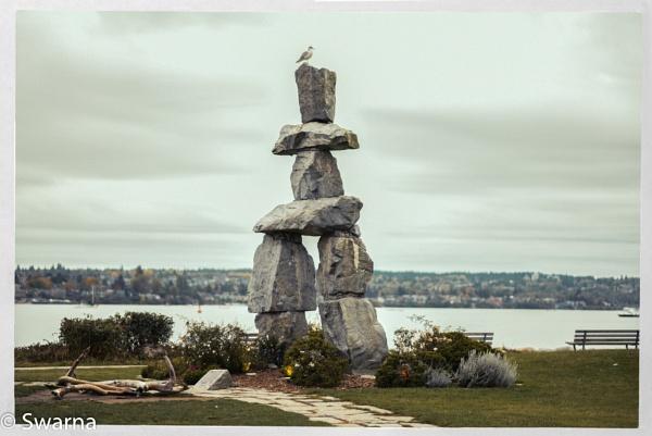 Inukshuk - English Bay, Vancouver BC by Swarnadip
