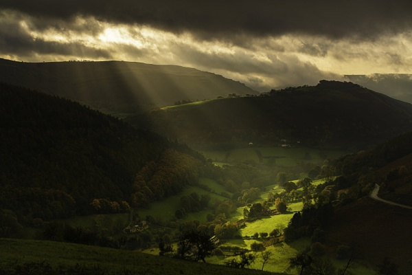 Early Morning Light on the Horseshoe Pass, Llangollen. by Brenty