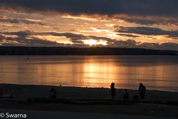 Sunset at English Bay, Vancouver BC by Swarnadip