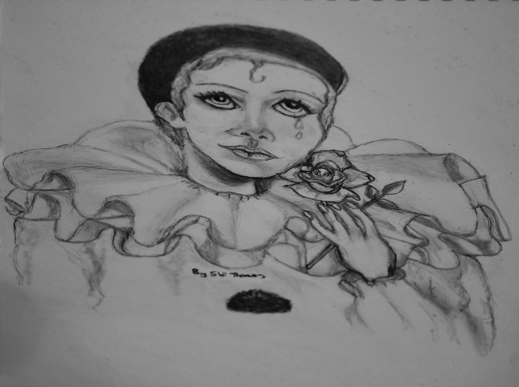 pierrot  clown drawing