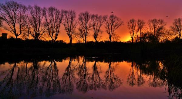 Sunset on Charlton\'s pond. by georgiepoolie