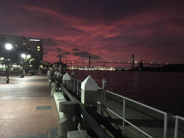 Savannah waterfront at sunset by JosephL